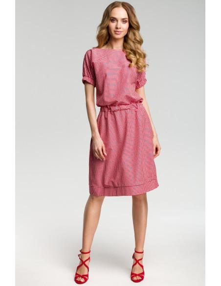 Sukienka w kratkę - czerwona