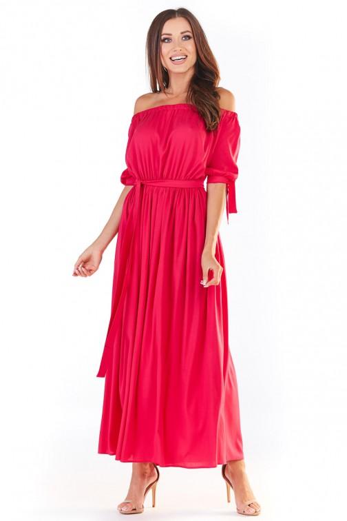 CM5388 Zwiewna sukienka maxi z odkrytymi plecami - fuksja