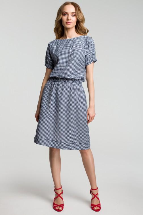 CM3636 Sukienka w kratkę - granatowa