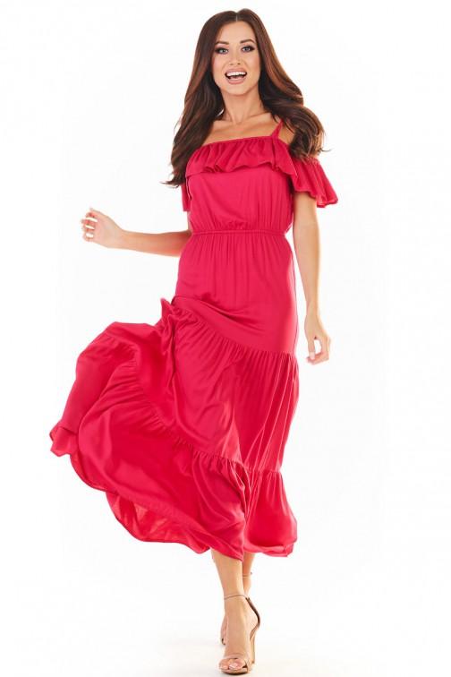 CM5389 Trapezowa sukienka maxi na ramiączkach - fuksja