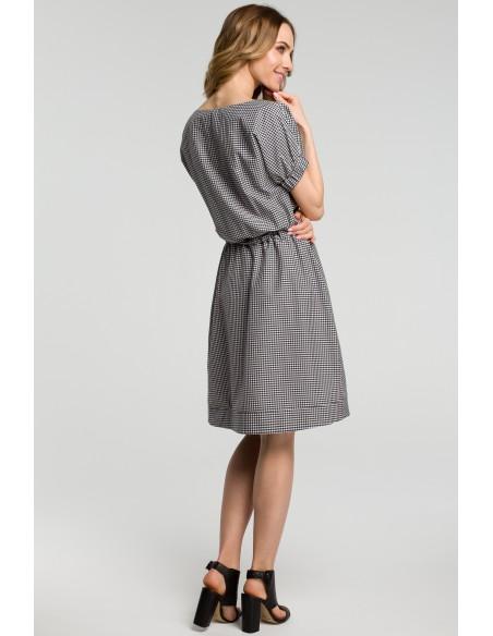 Sukienka w kratkę - czarna