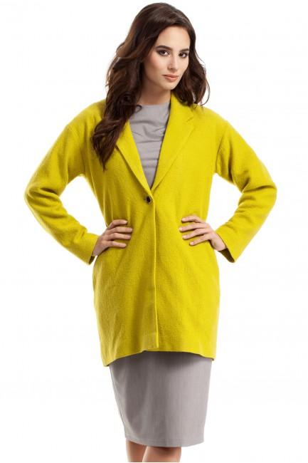 Wełniany sweter damski z długim rękawem - limonkowy