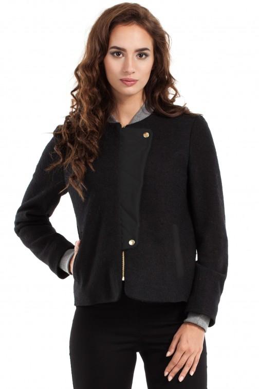 CM2462 Wełniana kurtka zapinana na napy - czarna OUTLET