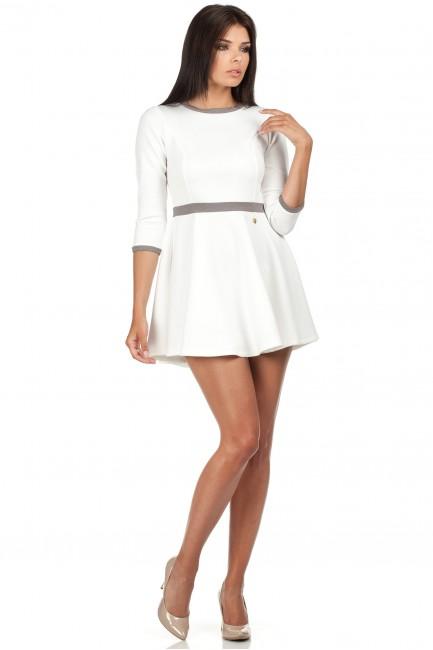 Elegancka sukienka rozkloszowana z koła - ecru