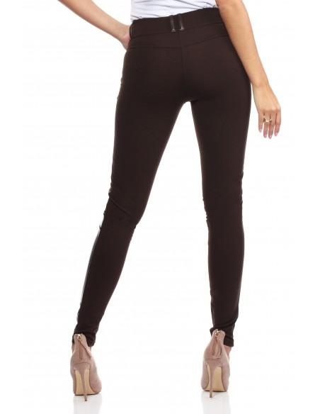 Włoskie legginsy ze skórzaną wstawką brązowe