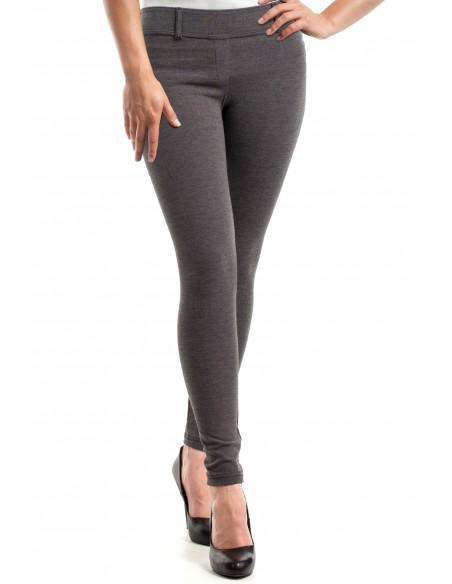 Włoskie klasyczne getry legginsy z kieszeniami - grafitowy-melanż