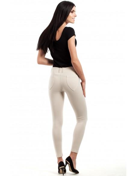 Włoskie klasyczne getry legginsy z kieszeniami - ecru