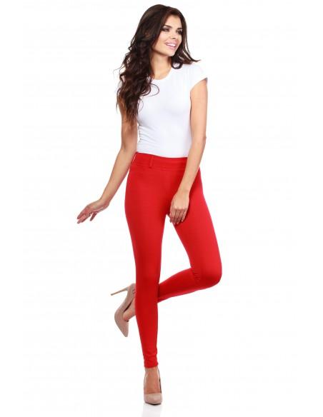Włoskie klasyczne getry legginsy z kieszeniami - czerwone