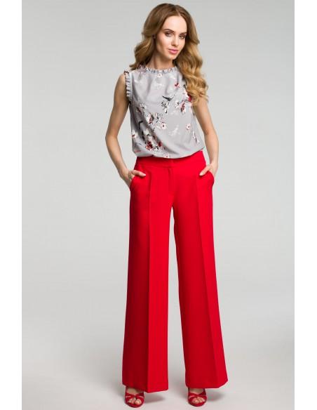 Spodnie z szerokimi nogawkami - czerwone