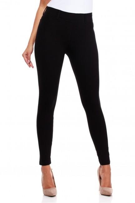 Włoskie klasyczne getry legginsy z kieszeniami - czarne