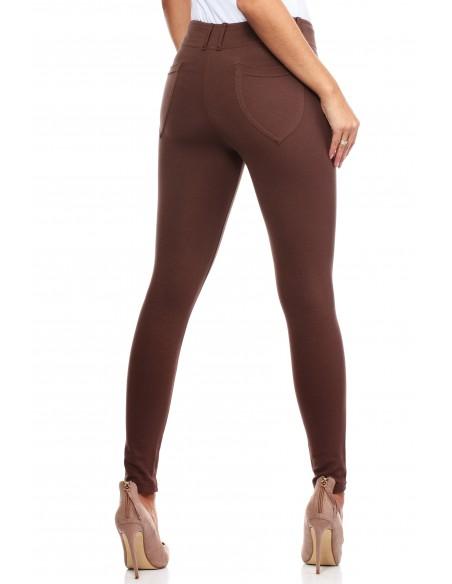 Włoskie klasyczne getry legginsy z kieszeniami - cappuccino