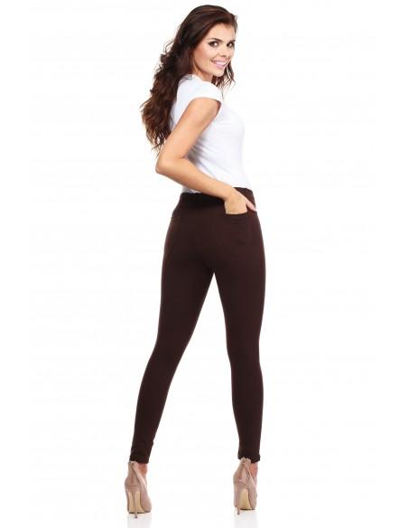 Włoskie klasyczne getry legginsy z kieszeniami - brązowe