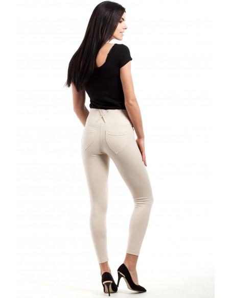 Włoskie, klasyczne legginsy z wysokim stanem - ecru