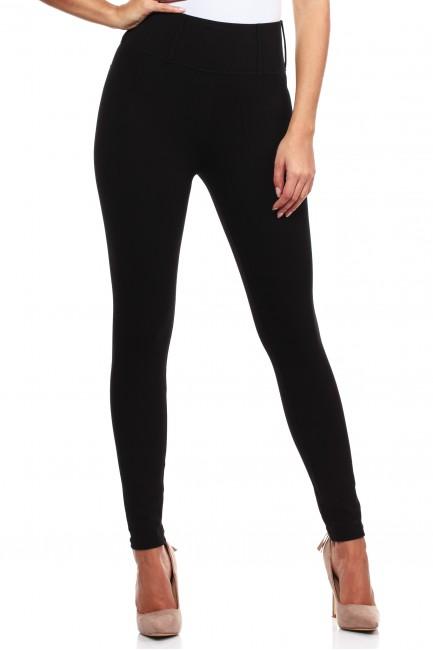 Włoskie, klasyczne legginsy z wysokim stanem - czarne
