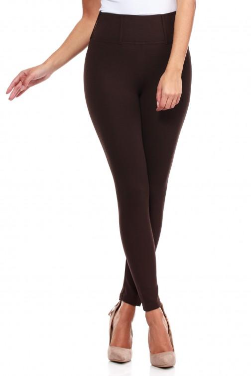 Włoskie, klasyczne legginsy z wysokim stanem - brązowe