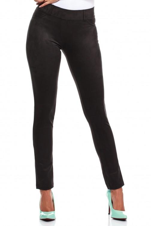 Włoskie spodnie rurki  legginsy z zamszu - czarne