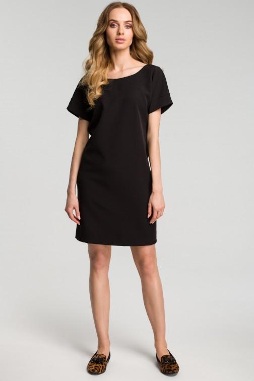 CM3640 Sukienka z dekoltem na plecach - czarna