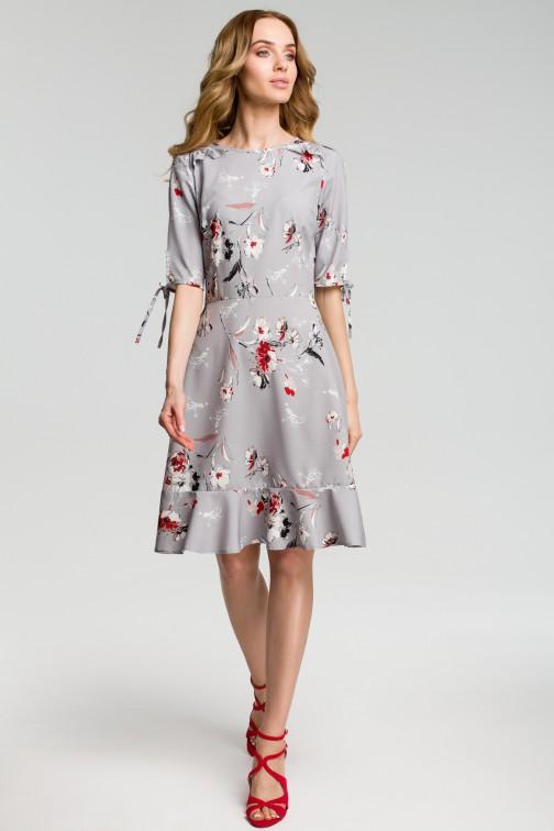 CM3641 Sukienka we wzór z falbankami - szara