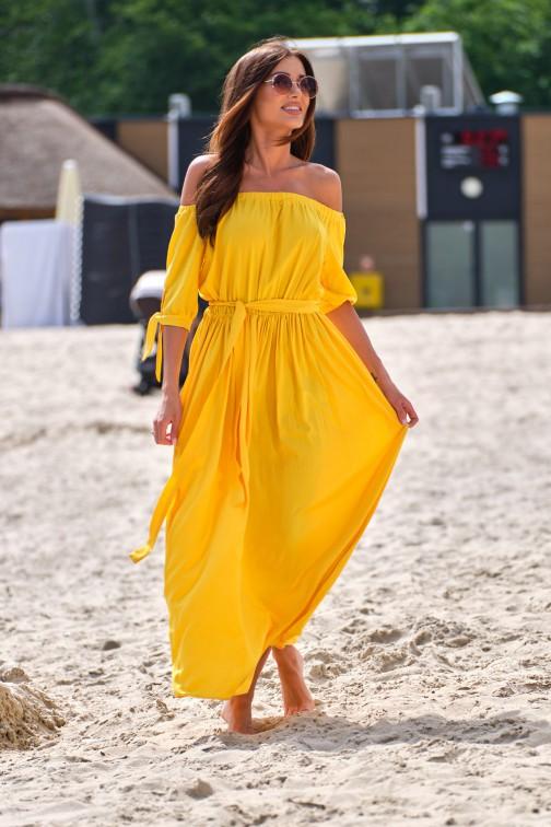 CM5388 Zwiewna sukienka maxi z odkrytymi plecami - żółta