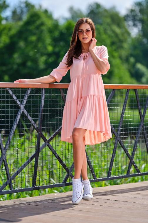 CM5390 Asymetryczna rozkloszowana sukienka mini - pudrowy róż