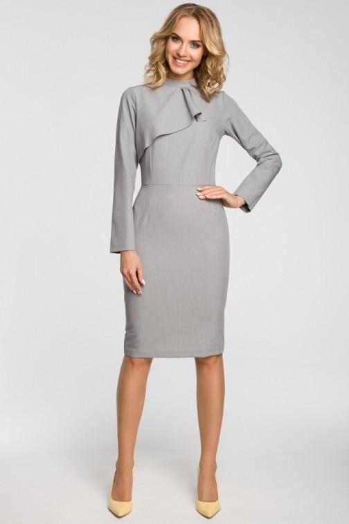 CM3104 Dopasowana sukienka midi z żabotem - szara
