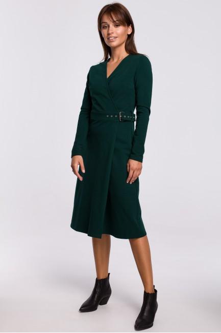 Kopertowa sukienka z paskiem - ciemnozielona