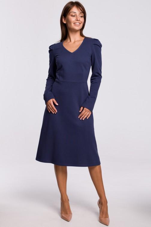 CM5396 Trapezowa sukienka z bufkami - niebieska