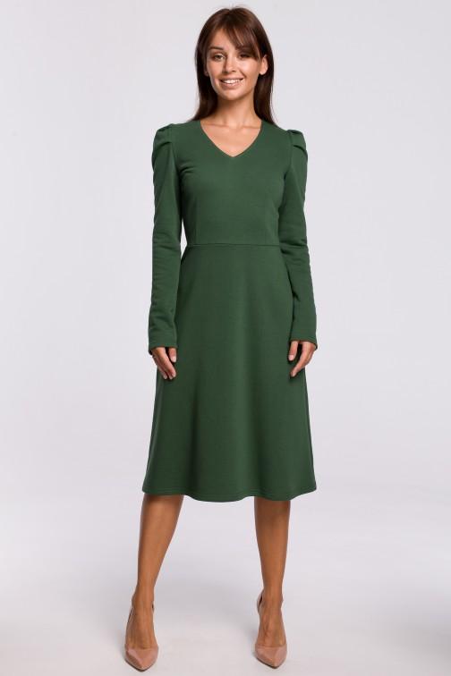 CM5396 Trapezowa sukienka z bufkami - trawiasta