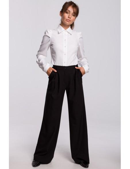 Eleganckie spodnie z szerokimi nogawkami - czarne