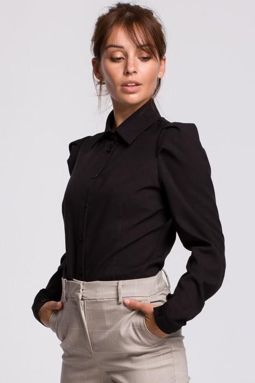 CM5399 Zapinana koszula z kołnierzykiem - czarna
