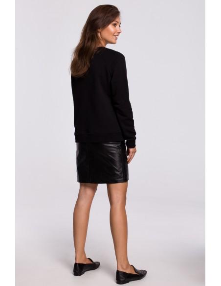 Stylowa bluza z nadrukiem - czarna
