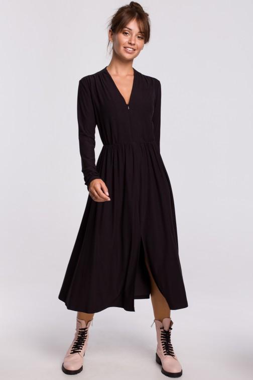 CM5405 Sukienka rozkloszowana z dopasowaną górą - czarna