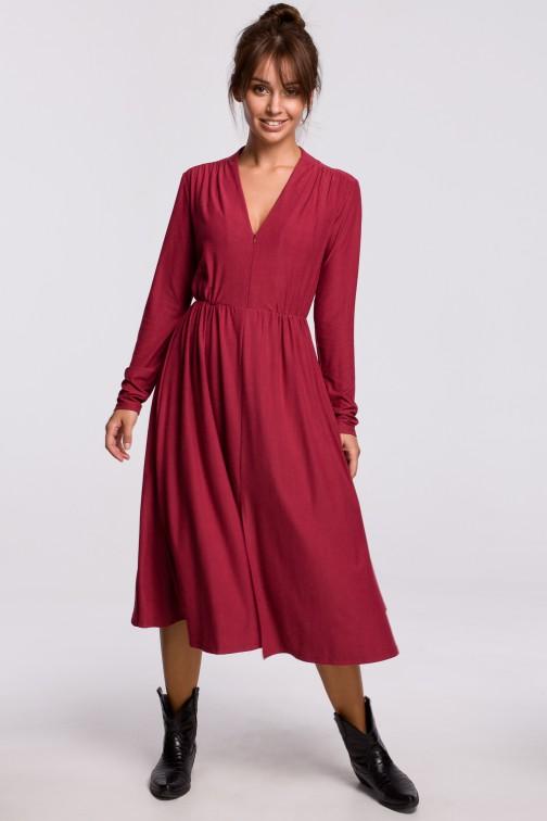 CM5405 Sukienka rozkloszowana z dopasowaną górą - wiśniowa