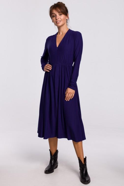 CM5405 Sukienka rozkloszowana z dopasowaną górą - indygo