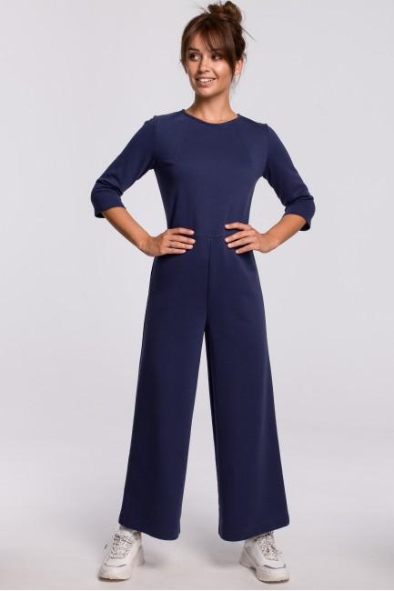 Nowoczesny kombinezon z szerokimi nogawkami - niebieski