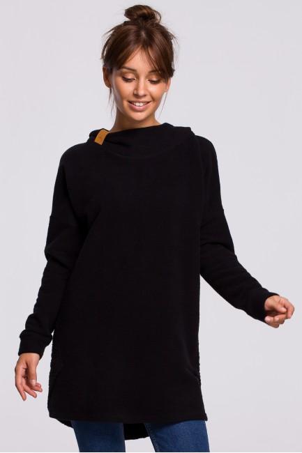 Asymetryczna bluza z kapturem - czarna