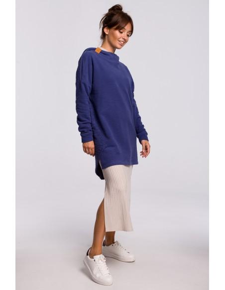 Asymetryczna bluza z kapturem - indygo