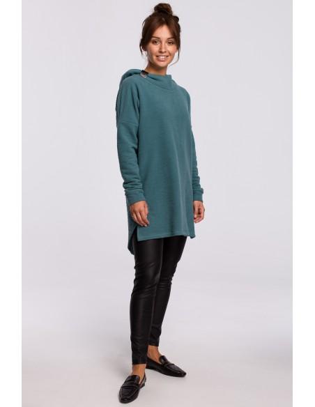 Asymetryczna bluza z kapturem - turkusowa