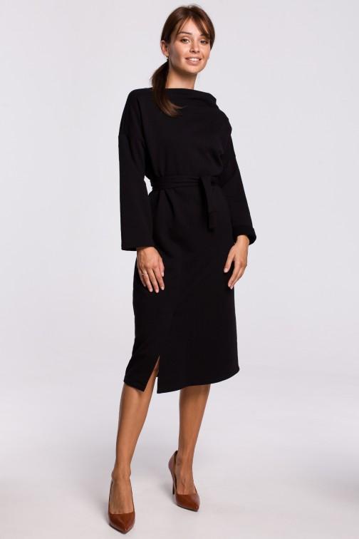CM5412 Elegancka sukienka z paskiem w talii - czarna