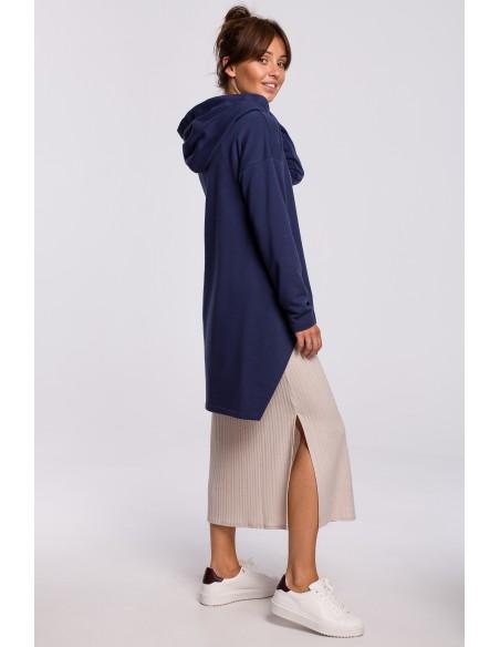 Bluza z kapturem i asymetrycznym rozcięciem - niebieska