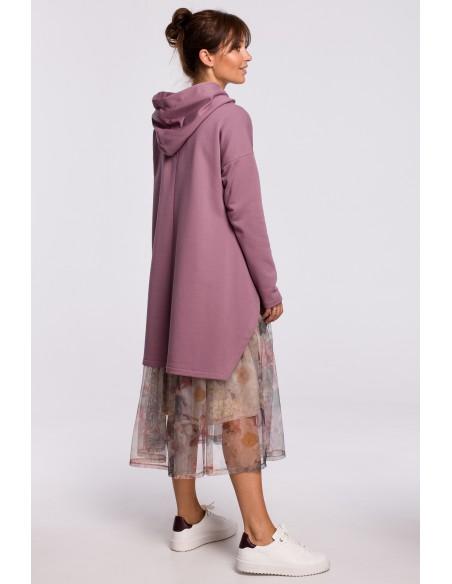 Bluza z kapturem i asymetrycznym rozcięciem - wrzosowa