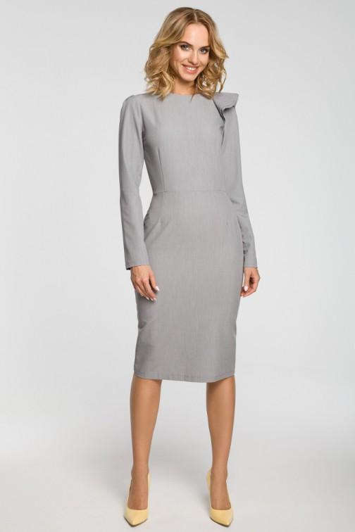 CM3105 Ołówkowa sukienka z falbankami na ramieniu - szara
