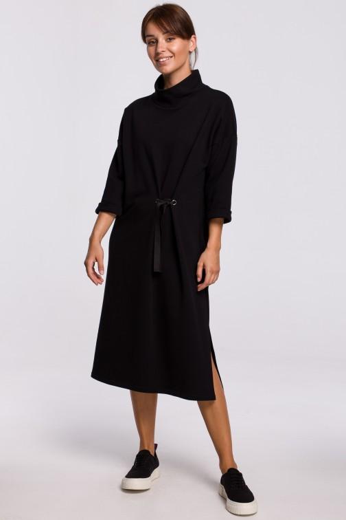 CM5415 Sukienka midi z ozdobnym wiązaniem z przodu - czarna