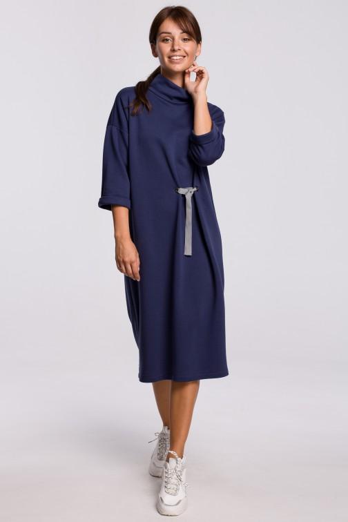 CM5415 Sukienka midi z ozdobnym wiązaniem z przodu - niebieska