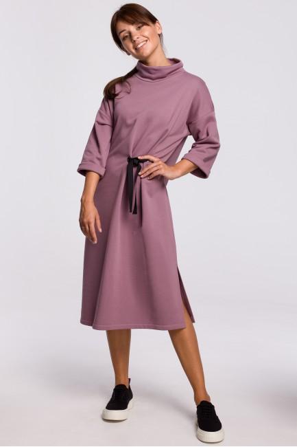 Sukienka midi z ozdobnym wiązaniem z przodu - wrzosowa