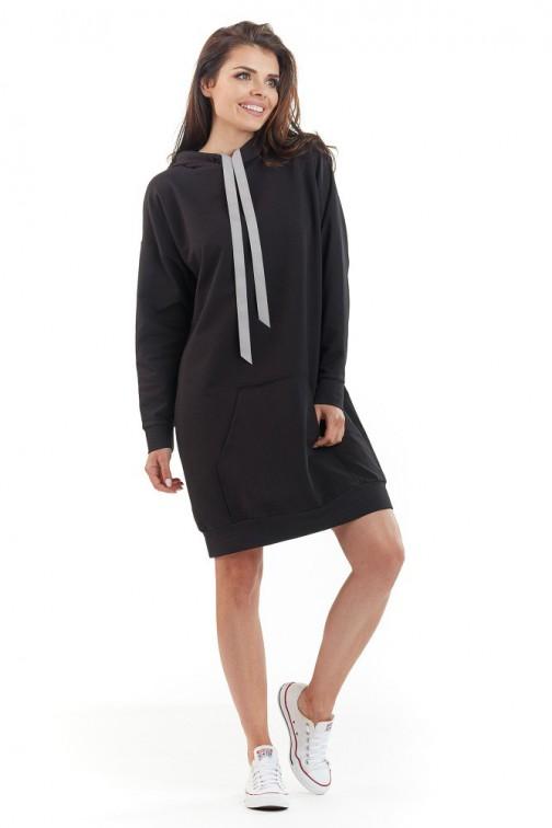 CM3720 Sportowa bluza z kapturem - czarna