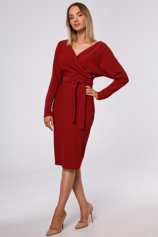 CM5419 Sukienka z kopertową górą i paskiem - ceglasta