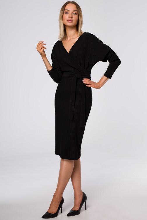 CM5419 Sukienka z kopertową górą i paskiem - czarna