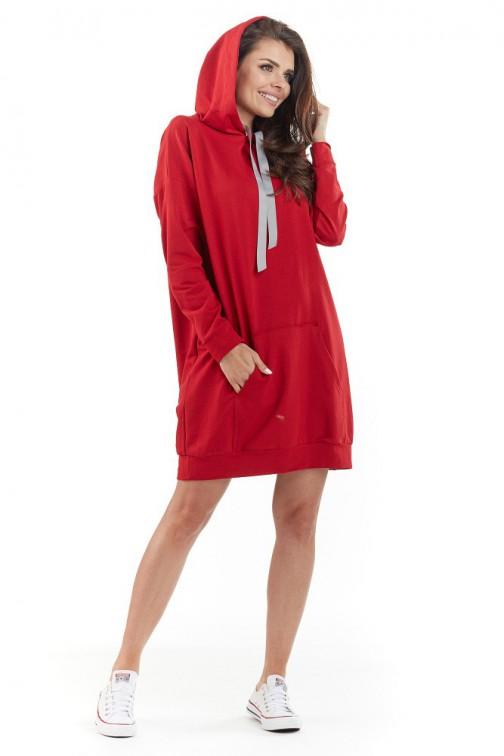 CM3720 Sportowa bluza z kapturem - czerwona