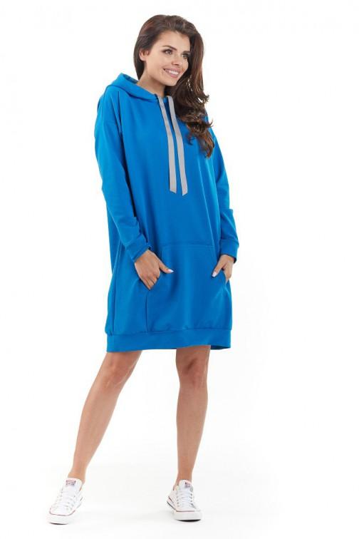 CM3720 Sportowa bluza z kapturem - niebieska